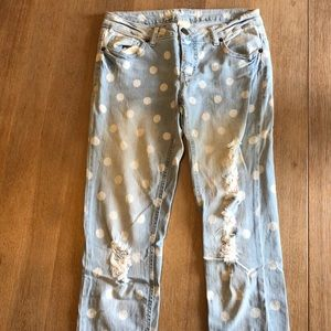 Mossimo Supply Co. Jeans - Mossimo White Polka Dot  Distressed Skinny Jeans